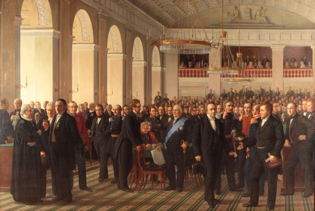 Constantin Hansen: Den Grundlovsgivende Forsamling. 1865. Olie på lærred. 338x500 cm. Det Nationalhistoriske Museum på Frederiksborg Slot
