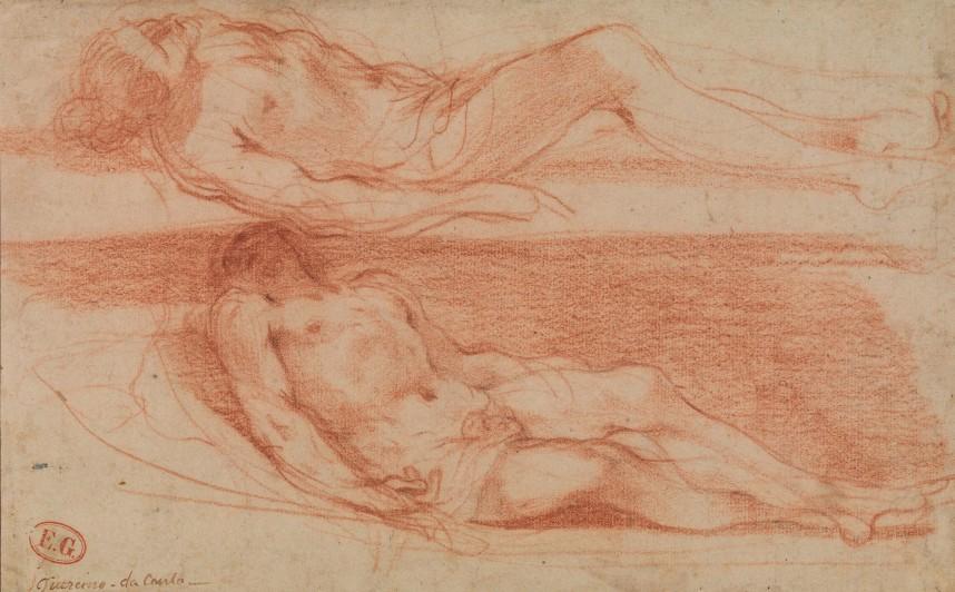 Giovanni Francesco Barbieri kaldet Guercino To studier af liggende halvnøgen mand  Rødkridt 264 x 165 mm SMK, Den Kongelige Kobberstiksamling